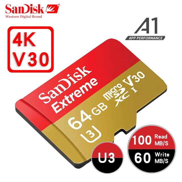 [Mã ELFLASH5 giảm 20K đơn 50K] Thẻ nhớ microSDXC Extreme 667X A1 V30 4K 64GB/32GB UHS-I U3 100MB/s