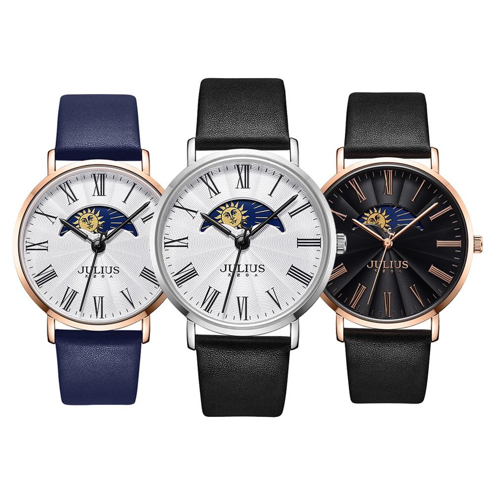 Đồng hồ nam Julius Hàn Quốc JA-1308M dây da có lịch sang trọng