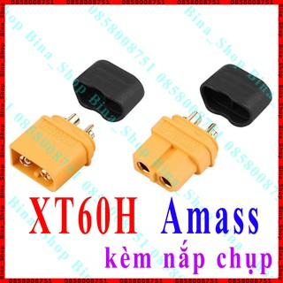 Jack XT60H Amass 60A kèm nắp chụp, Jack pin Lipo XT60 đực cái (tự chọn) thumbnail