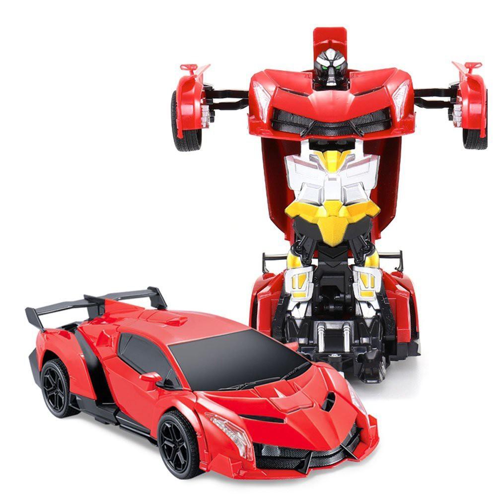 Đồ chơi Ô tô biến hình Robot Super Red điều khiển từ xa có cáp sạc (hình thật)