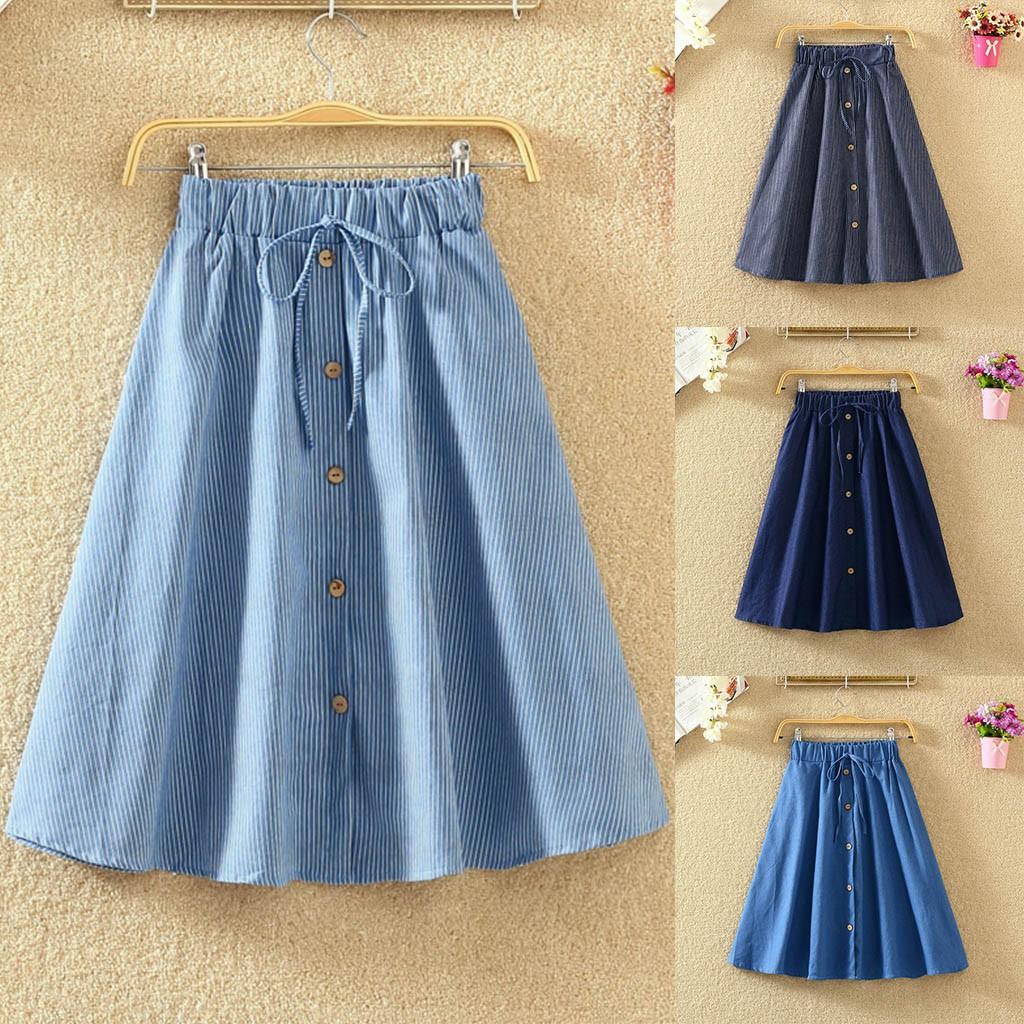 ✻windsong✻Womens Casual Denim Vintage Comfortable High Waist Ladies Long Skirt