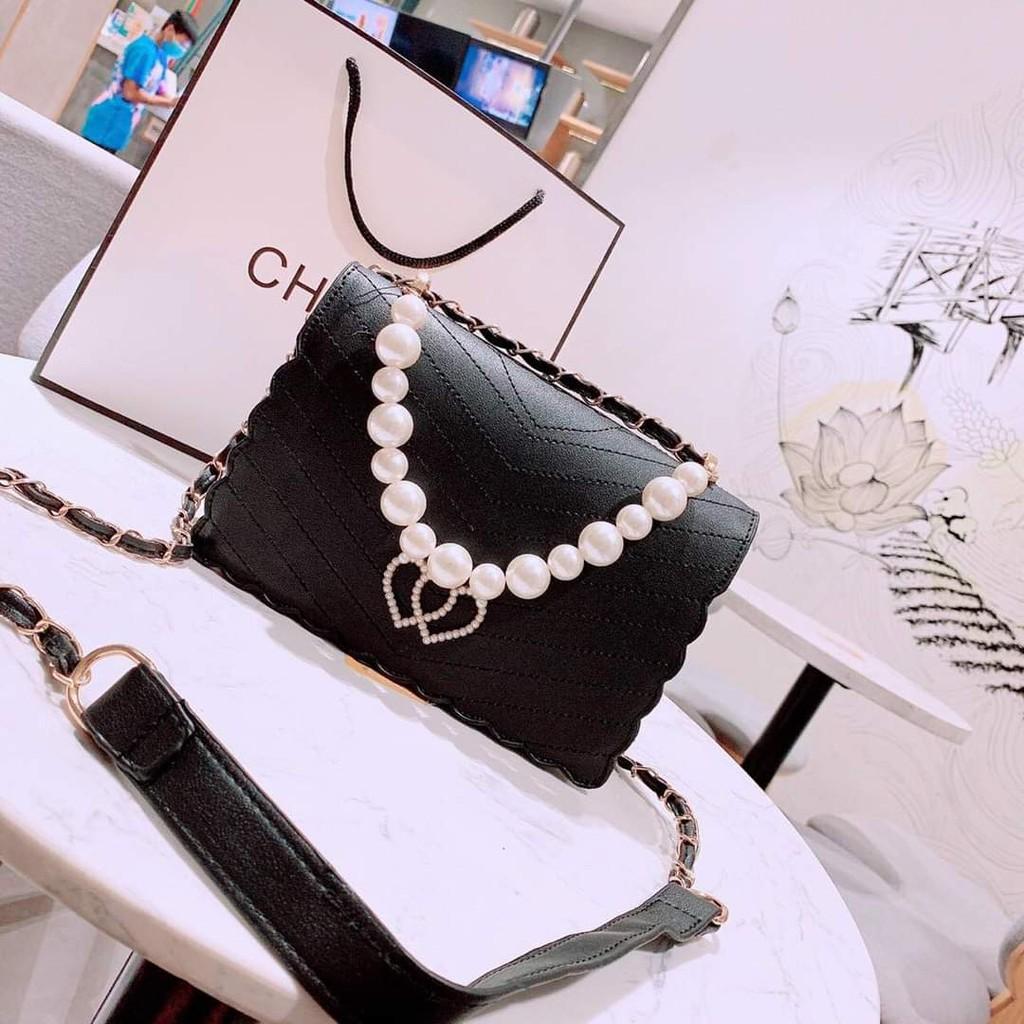 Túi Ngọc trinh chuỗi ngọc khóa tim sang trọng túi xách nữ siêu hot hàng đẹp TXTIM01 + hình thật