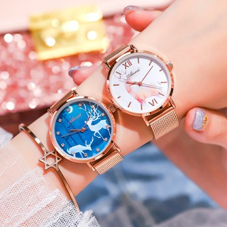 Đồng hồ nữ dây kim loại Aborni Lộc Xanh may mắn