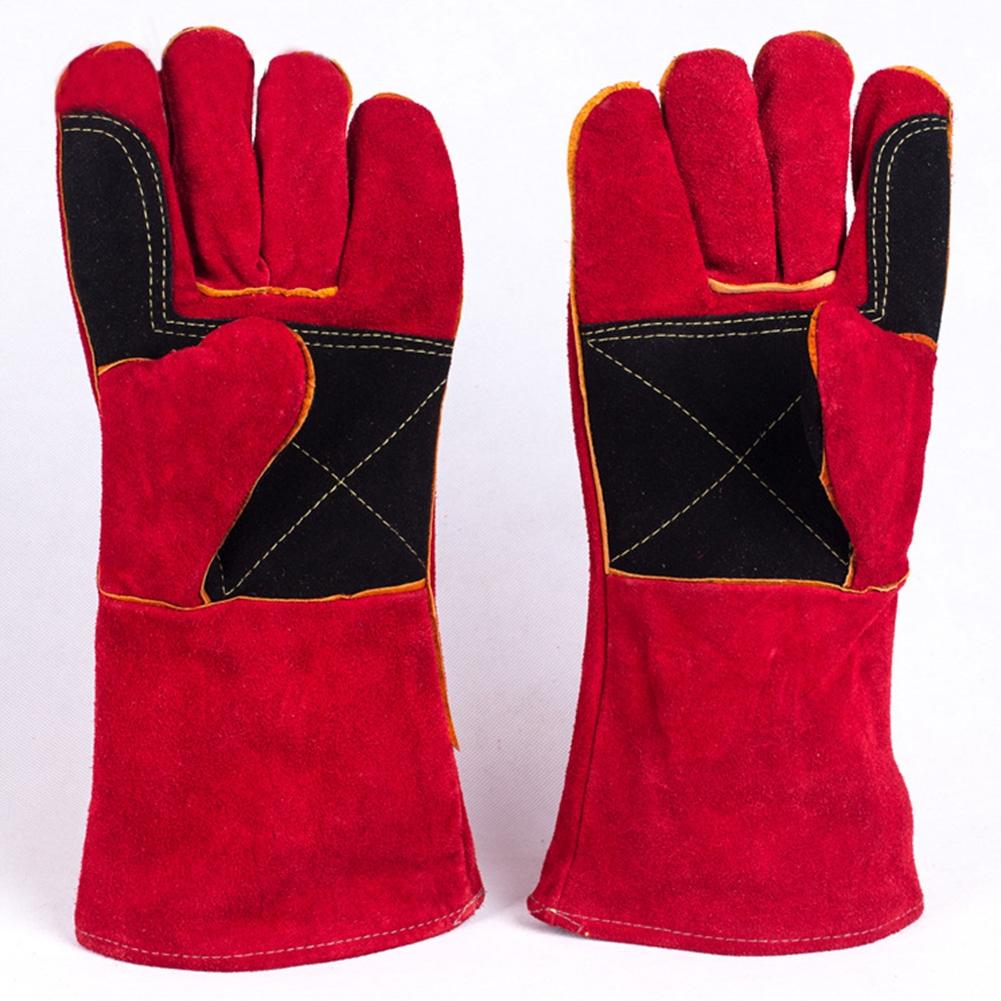 1 Pair Heat Insulation Hand Protection Gardening Leather Labour Wear Resistant Oven Mitt Welding Gloves