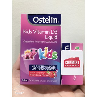 (Tem Chemist) Vitamin D3 Ostelin dạng nước 20ml, bổ sung Vitamin D3 cho trẻ thumbnail