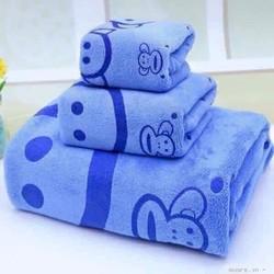 set 3 khăn bông tắm kiba loại có túi bóng