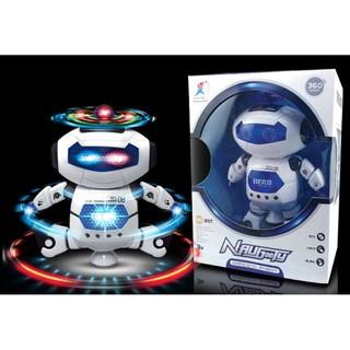 ROBOT thông minh nhảy múa theo điệu nhạc xoay 360 độ (Trắng Xanh)