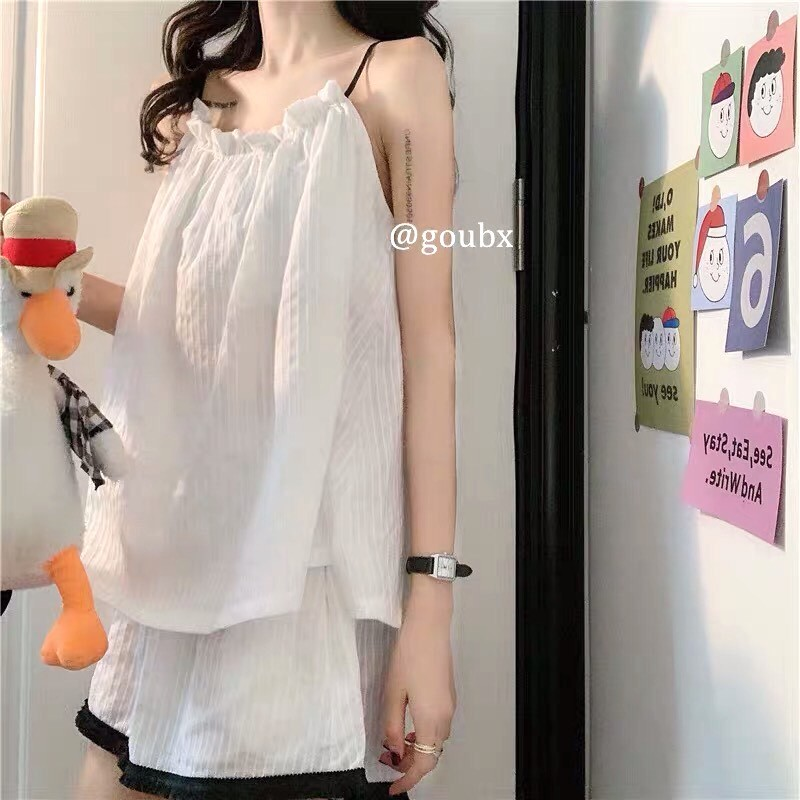 Mặc gì đẹp: Set 2 Dây Trắng Đũi Nhăn PEONYB Nữ [FREESHIP] 🌸 Bộ ngủ quần voan ống rộng, áo thun lụa mát mặc ở nhà bánh bèo Ulzzang