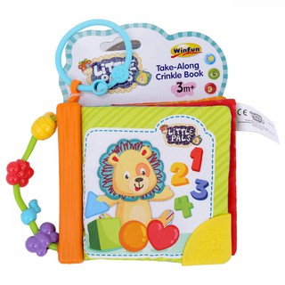 Đồ chơi giáo dục sớm cho trẻ sơ sinh:Sách vải động vật hoang dã sắc màu kèm gặm nướu Winfun 0176 - tập cầm, treo nôi cũi