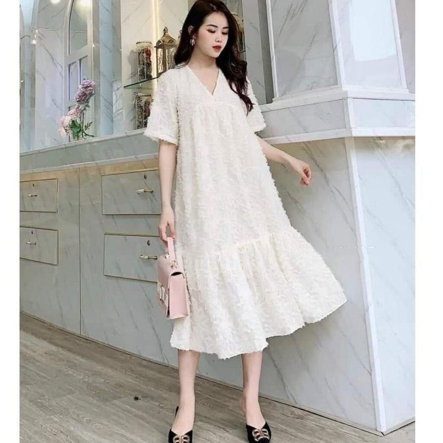 Mặc gì đẹp: Dễ chịu với Đầm, váy bầu thời trang MAMADRESS chất ren thiết kế FREESIZE từ 42-75kg cho nàng bầu công sở V09