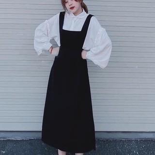 Sét váy yếm áo sơ mi tay bồng siêu xinh ( kèm ảnh thật )