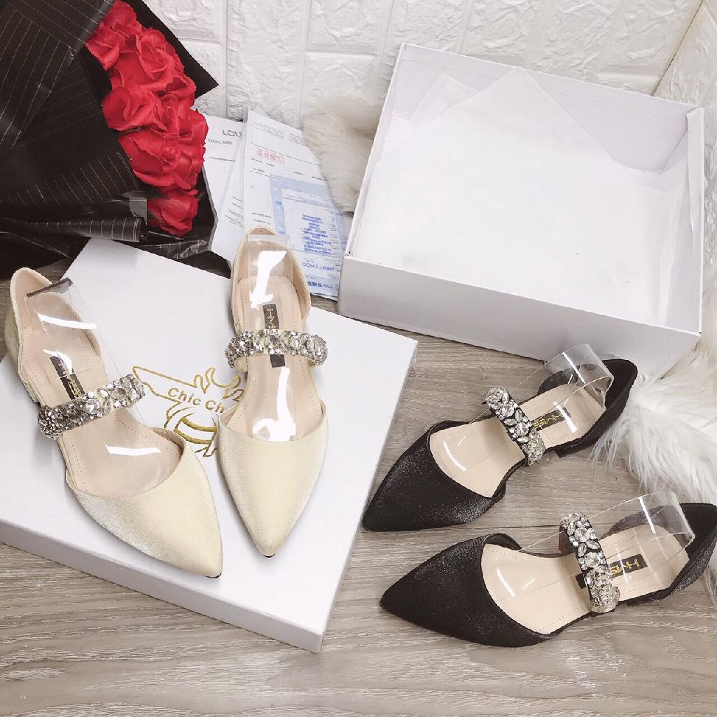Giày búp bê quai kết đá chất đẹp siêu êm chân