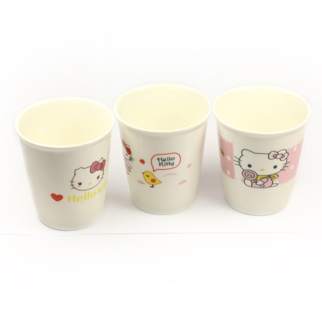 Bộ 3 cốc sứ in hình mèo Hello Kitty đáng yêu 100% Bát Tràng