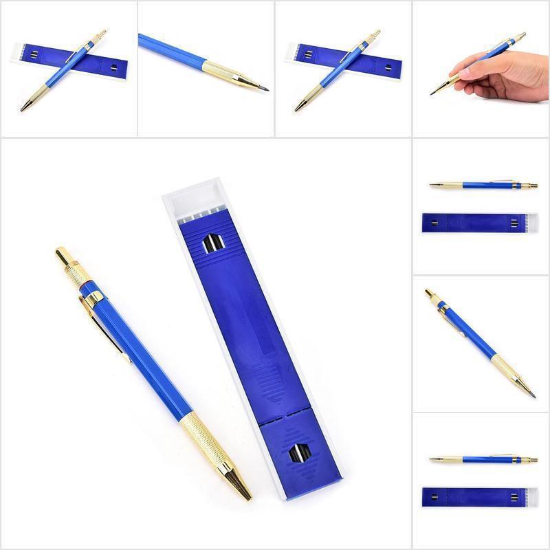 【COD•nobe】1Set 2.0mm 2B Lead Holders Automatic Mechanical Pencil 12 Leads Refi