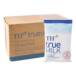 Thùng sữa bịch TH True Milk có đường/ít đường/không đường 220ml