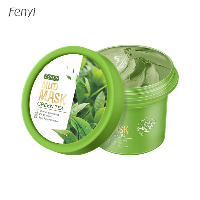 Mặt nạ đất sét Fenyi tinh chất trà xanh giảm mụn đầu đen kiềm dầu dưỡng trắng 100g
