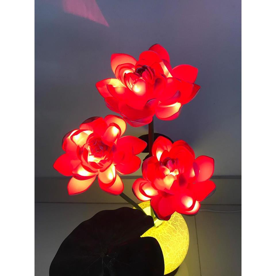 Bình hoa sen đèn led trang trí cao cấp (chiều cao 45cm)