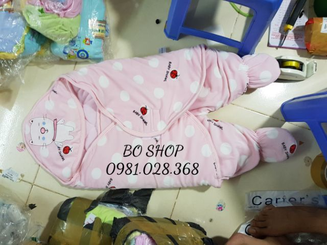 [Mã 267FMCGSALE giảm 8% đơn 500K] Chăn ủ trần bông / ủ gấu có chân cho bé sơ sinh
