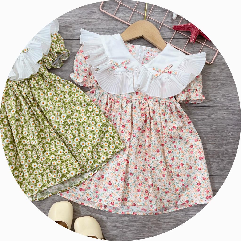 Váy Thô Mềm Cho Bé Gái 9-25KG, Váy Bánh Bèo Hoa Nhí Nơ Trắng Cực Xinh - QATE TucAnh