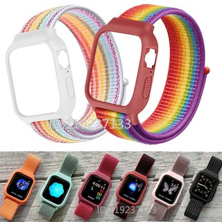 【Dây đeo + Vỏ】 Dây đeo Apple Watch 38 / 40mm 42 / 44mm Vòng nylon dệt mềm mại thoáng khí với Vỏ silicon cho iWatch Series SE 6/5/4/3/2/1