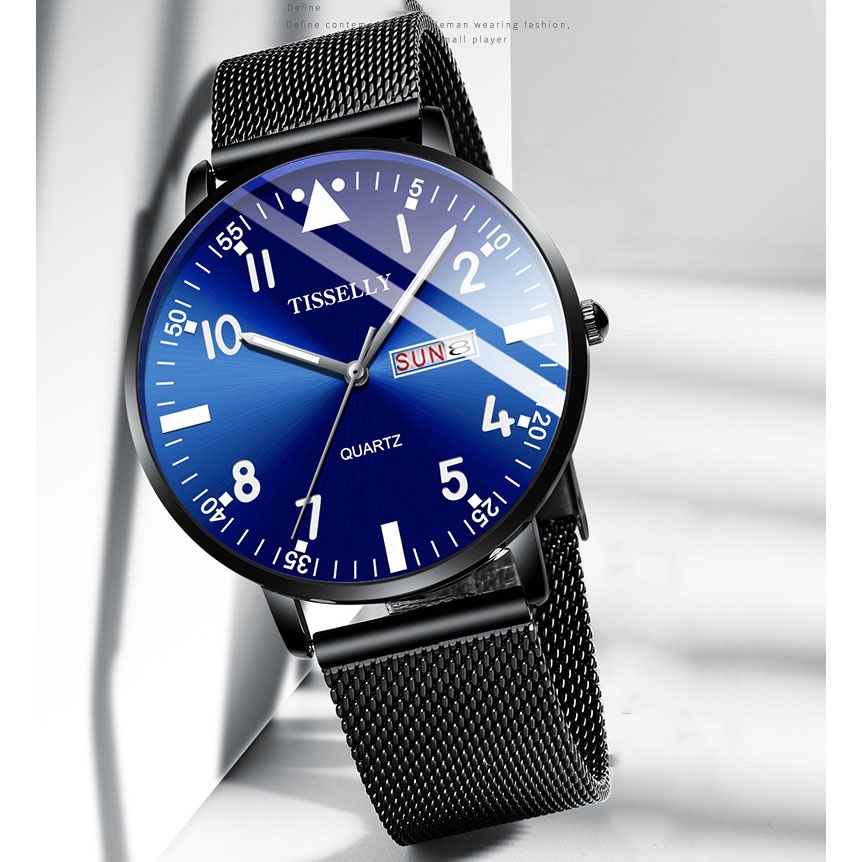 (TẶNG KÍNH MẮT ) Đồng hồ nam TISSELLY T018G thiết kế sang trọng không thấm nước 3ATM chạy 2 lịch dây hợp kim thép