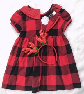 Váy kẻ đỏ caro phối cổ bèo bé gái - SIÊU PHẨM