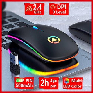 Chuột không dây A2 tự sạc cao cấp, LED 7 màu lung linh, nút điều chỉnh DPI tốc độ chuột BH 6 tháng