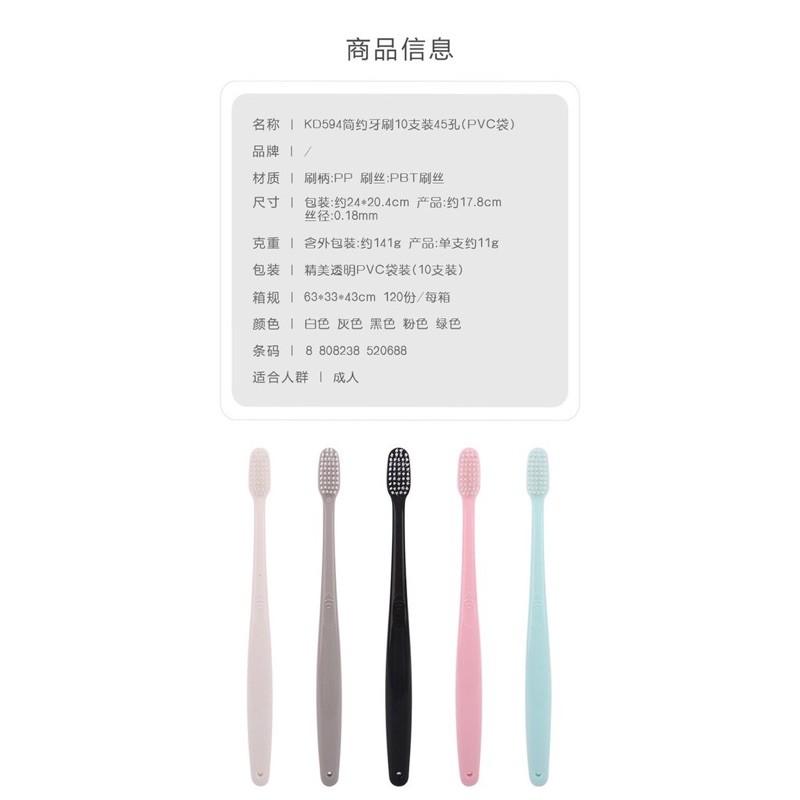 Set 10 Bàn Chải Đánh Răng Hàn Quốc Có Nắp Tặng Kèm Túi Zip Kháng Khuẩn