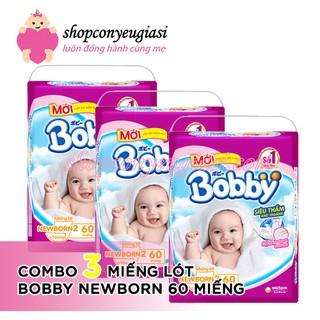 [Mã FMCGLUX giảm 120K đơn 1tr5] Combo 3 bịch tã lót Bobby NewBorn 2 - 60 Miếng - Tặng Kèm 6 Miếng Tã Quần Bobby Size M thumbnail