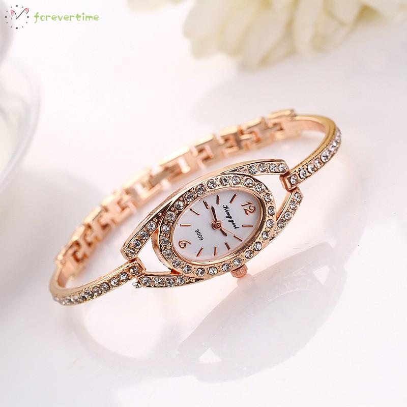 ☞ Phụ kiện trang sức☜ Women Quartz Watch Stainless Steel Crystal Bangle Slim Wristwatch/Bracelet Jewelry