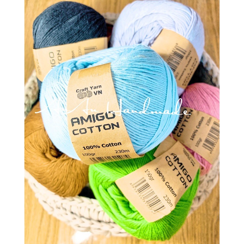 Sợi Amigo cotton 100% - Cuộn 100gr ( Bảng màu 2)