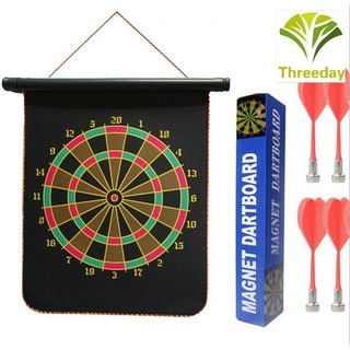 3D❤ Thrilling Indoor Game 12in Double-sided Magnetic Dart Board Indoor Target Game & 4 Magnetic Darts New With Box (Size