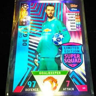 Thẻ cầu thủ/thẻ bóng đá David De Gea Champions League 2018/2019 Limited Edition