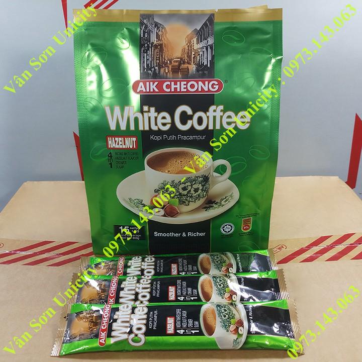Cà phê trắng vị Hạt Phỉ Aik Cheong bịch 600g (15 gói dài * 40g) White Coffee Hazelnut