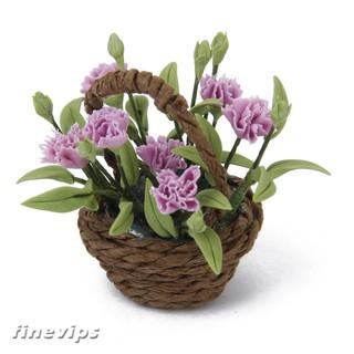 1:12 Dollhouse Home Decoration Miniature Flower Bush & Carnation Basket Accs