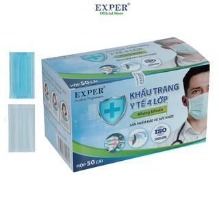 Khẩu trang y tế Exper 4 lớp hộp 50 cái. Khẩu trang y tế áp dụng công nghệ Nhật cao cấp không đau tai thumbnail
