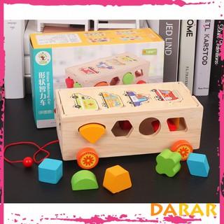 Xe đồ chơi thả hình gỗ nhiều màu sắc – Đồ chơi gỗ phát triển kỹ năng- Hàng Loại I