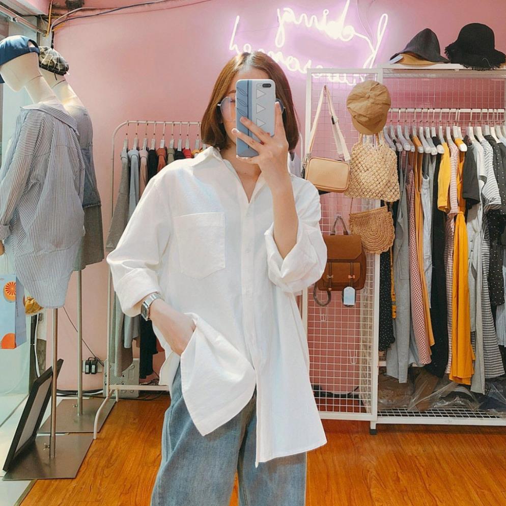 Mặc gì đẹp: Lịch sự với Áo sơ mi unisex nữ đen trắng dài tay form rộng Madela, sơ mi nữ công sở dáng suông-ASM08