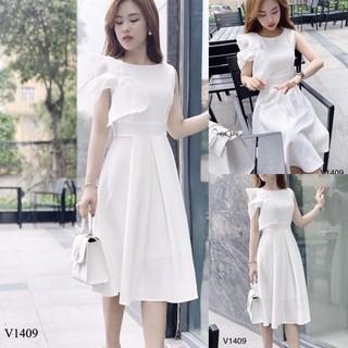 Váy trắng xòe nơ ngực V1409 - Đầm ăn cưới đơn giản thumbnail