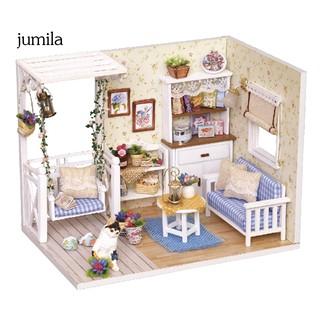 JULA 3D Wooden Miniature Dollhouse Bedroom Furniture Cat Doll DIY Craft Education Toy