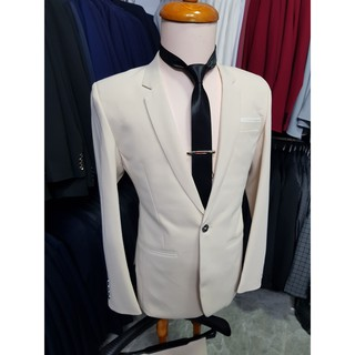 Yêu ThíchBộ vest nam ôm body màu kem nhạt chất vải dày mịn co giãn tặng cà vạt kẹp