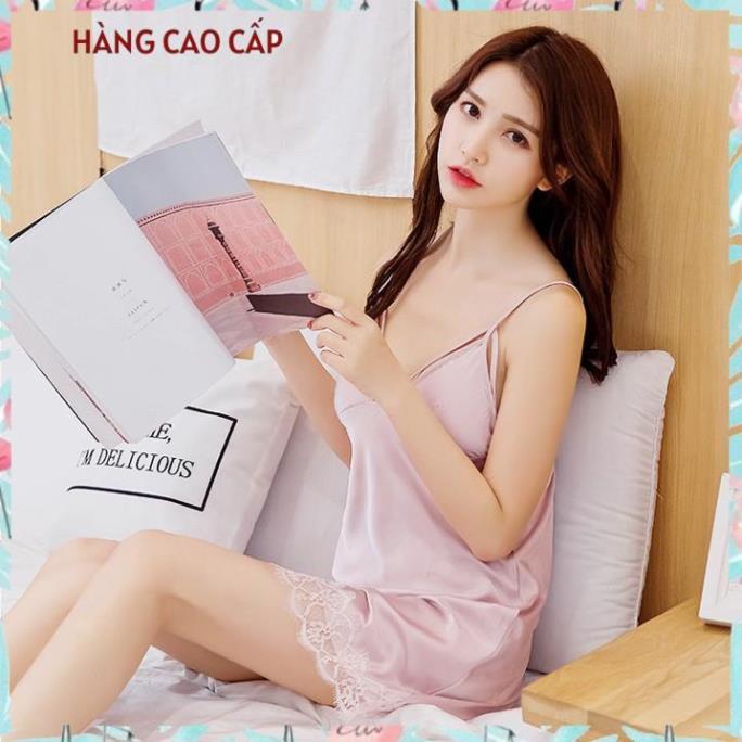 Váy ngủ sexy hai dây phối ren đầm ngủ kiểu dây đan chéo bầu ngực gợi cảm (hồng nude) Thư Thư [HÀNG CAO CẤP]