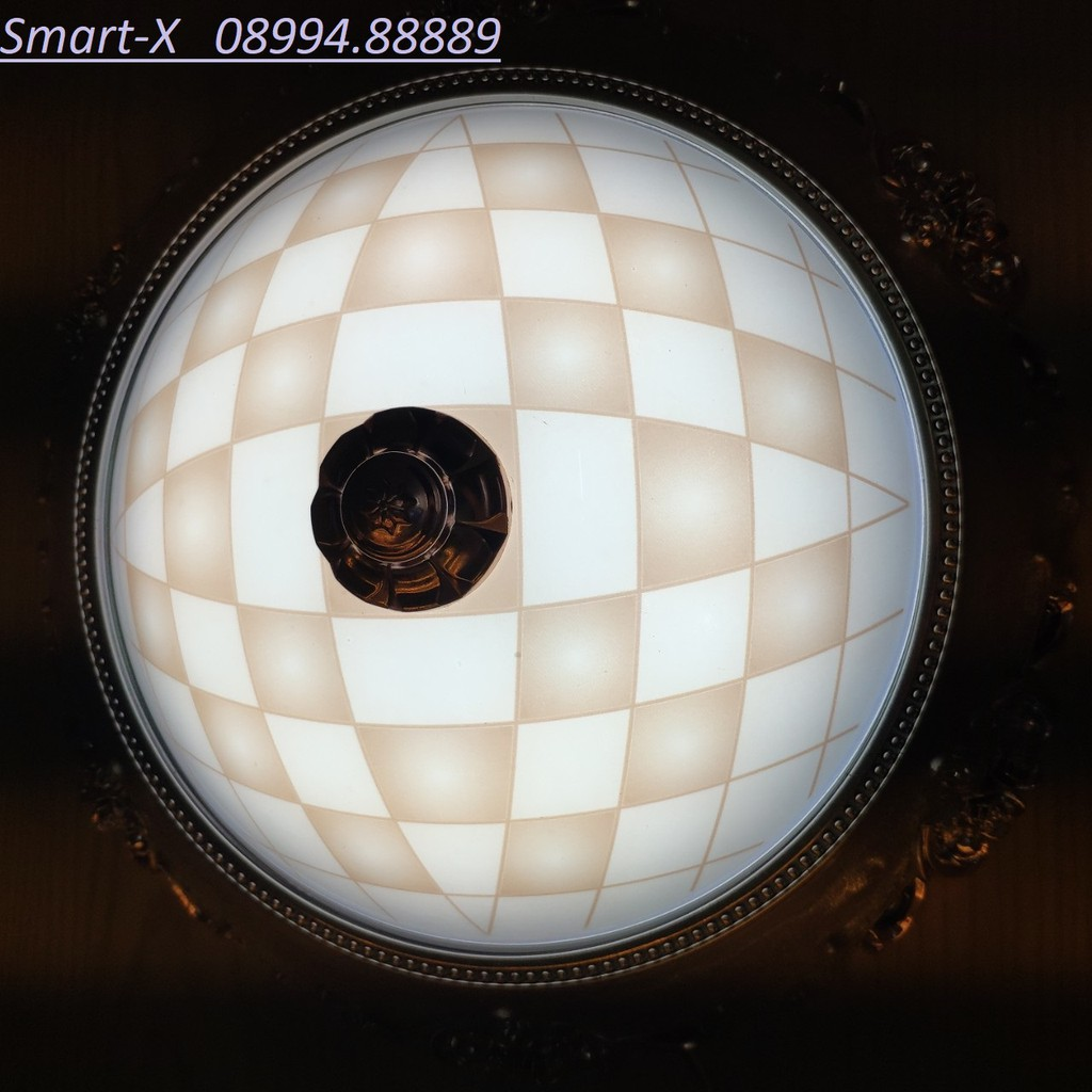 Đèn mâm ốp trần 9029 vân tứ giác viền gỗ ánh sáng vàng ấm ( Ceiling lamp )