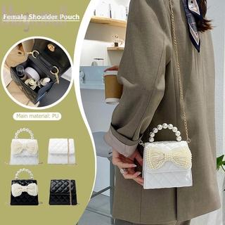 Túi đeo chéo da pu cỡ nhỏ phối dây xích đính ngọc trai giả thiết kế phong cách retro thời trang cho nữ
