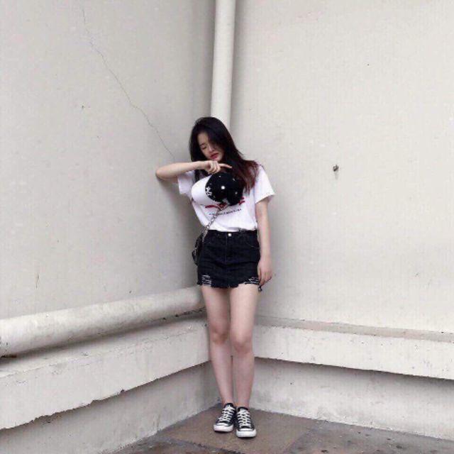 1021755401 - Set áo cờ mỹ x chân váy jean rách