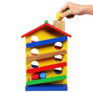 Nhà thả bi – Đồ chơi gỗ – hình thật ở cuối