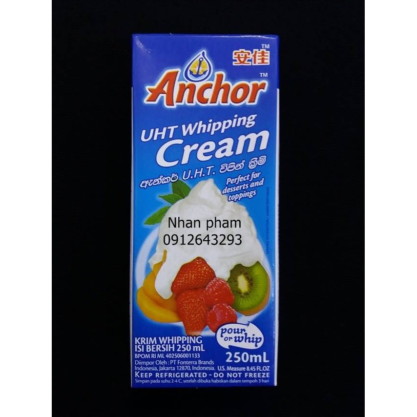 Whipping cream anchor 250ml - 2743273 , 164625268 , 322_164625268 , 65000 , Whipping-cream-anchor-250ml-322_164625268 , shopee.vn , Whipping cream anchor 250ml