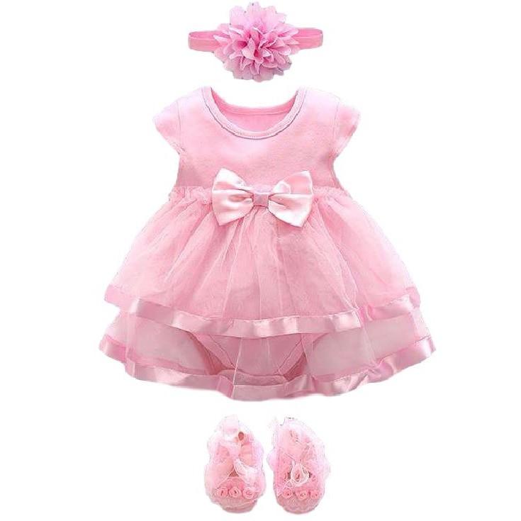 Combo body cotton phối viền ren chân váy, giày ren hoa, nơ hoa hồng cho b