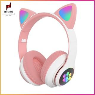 Tai nghe bluetooth 💖FREESHIP💖,Tai nghe mèo STN-28 hồng nữ tính. Led RGB có thể bật tắt, Mic đàm thoại