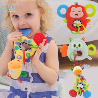 NR Baby Hand Bell Toys Plush Animals Doll with Teether Comforting Doll for Infant